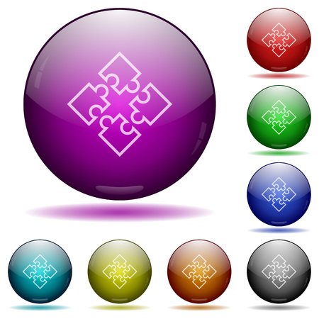Set of color puzzles glass sphere buttons with shadows.