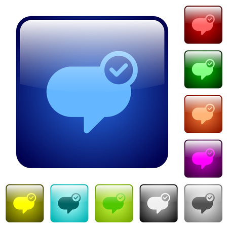 sent: Set of message sent color glass rounded square buttons