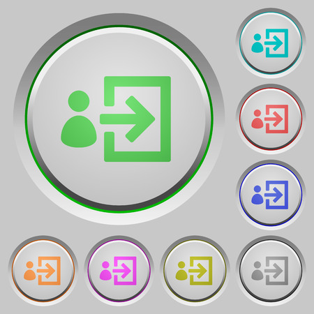 logon: Set of color user login sunk push buttons.