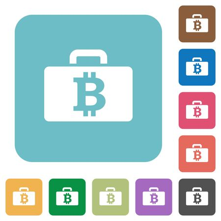 rounded: Flat Bitcoin bag icons on rounded square color backgrounds.