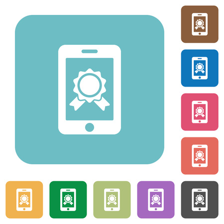 certification: Flat smartphone certification icons on rounded square color backgrounds.