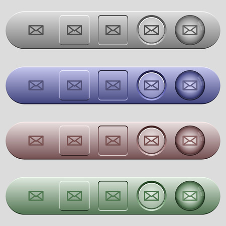 glued: Message icons on rounded horizontal menu bars in different colors and button styles