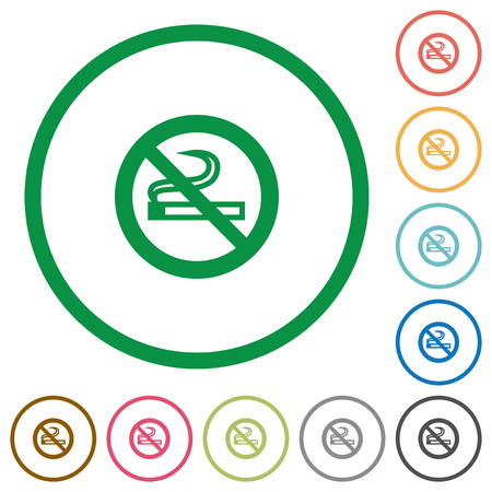 Set of no smoking sign color round outlined flat icons on white background Illustration