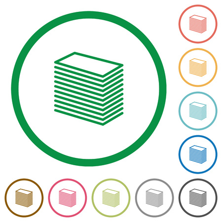 paper stack: Set of paper stack color round outlined flat icons on white background