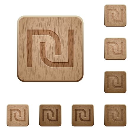 israeli: Set of carved wooden Israeli new Shekel sign buttons in 8 variations.