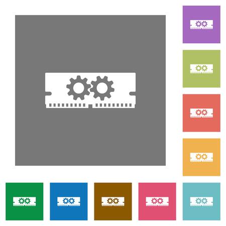 kilobyte: Memory optimization flat icon set on color square background.
