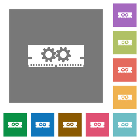 Memory optimization flat icon set on color square background.