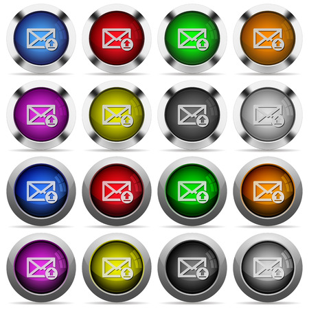 sending: Set of sending mail glossy web buttons. Arranged layer structure.