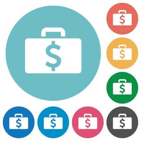 dollar bag: Flat Dollar bag icon set on round color background.