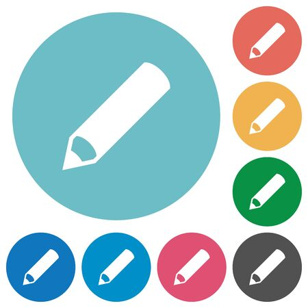 Flat pencil icon set on round color background. Illustration