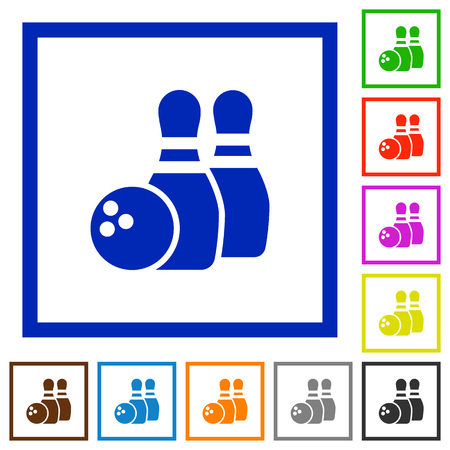 dexterity: Set of color square framed bowling flat icons