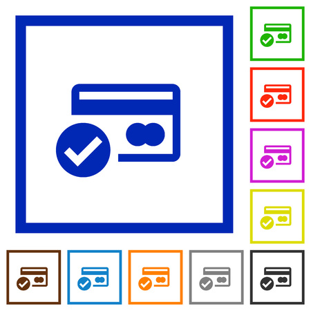 verified: Set of color square framed Credit card verified flat icons