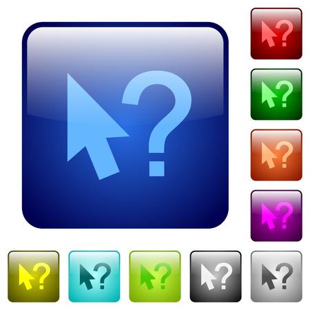 Set of help cursor color glass rounded square buttons Ilustração