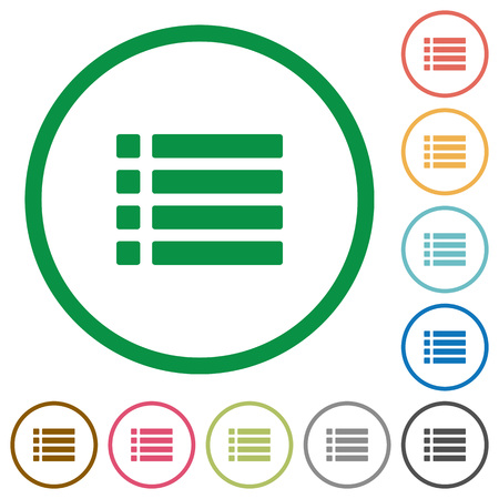 disordered: Set of unordered list color round outlined flat icons on white background