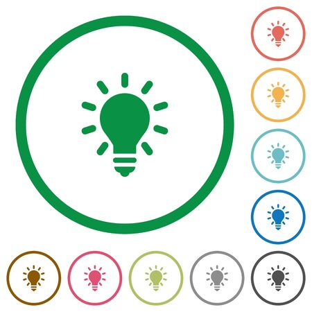 lighting bulb: Set of lighting bulb color round outlined flat icons on white background