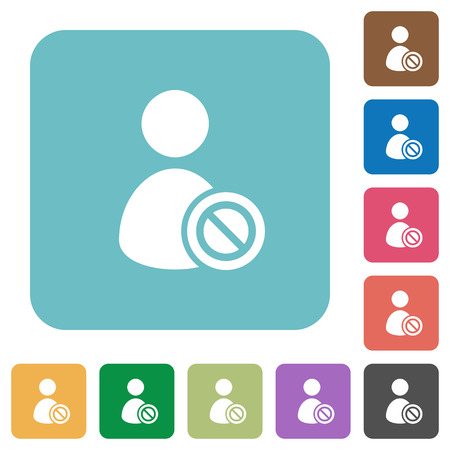 rounded: Flat Ban user icons on rounded square color backgrounds.
