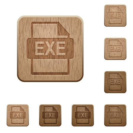 executable: Set of carved wooden EXE file format buttons in 8 variations.
