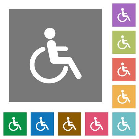 limitations: Disability flat icon set on color square background. Illustration