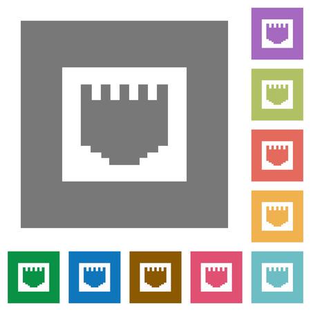 ethernet: Ethernet connector flat icon set on color square background.
