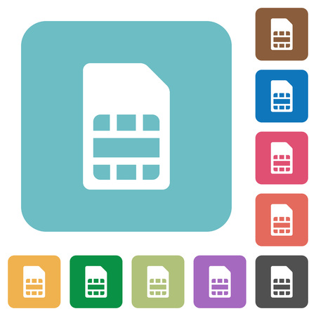 subscriber: Flat SIM card icons on rounded square color backgrounds. Illustration