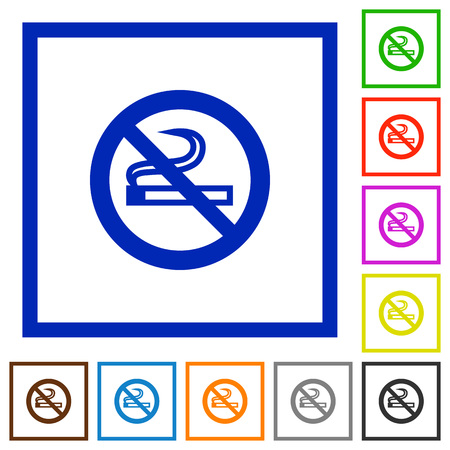 unsanitary: Set of color square framed no smoking flat icons