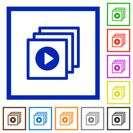 execute: Set of color square framed play files flat icons