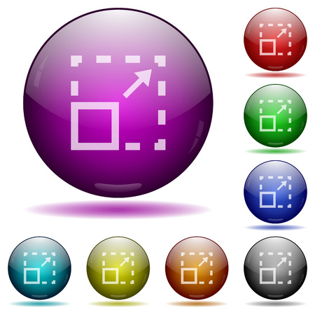maximize: Set of color maximize element glass sphere buttons with shadows. Illustration