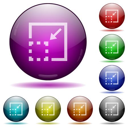 minimize: Set of color minimize element glass sphere buttons with shadows.