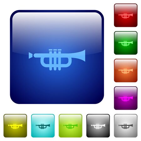 at tact: Set of trumpet color glass rounded square buttons Illustration