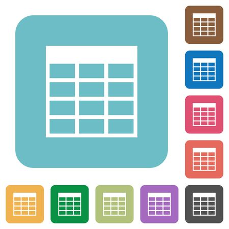 spreadsheet: Flat Spreadsheet table icons on rounded square color backgrounds. Illustration