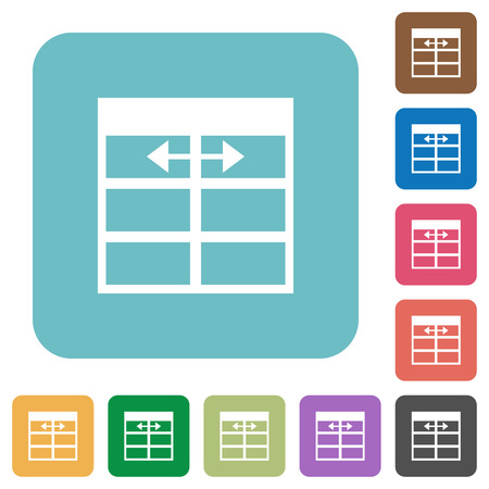 width: Flat Spreadsheet adjust table column width icons on rounded square color backgrounds.