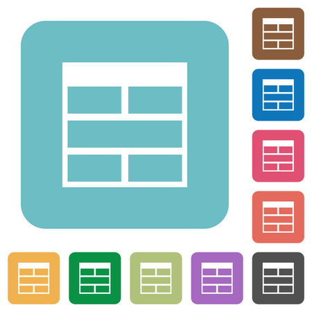 horizontally: Flat Spreadsheet horizontally merge table cells icons on rounded square color backgrounds. Illustration
