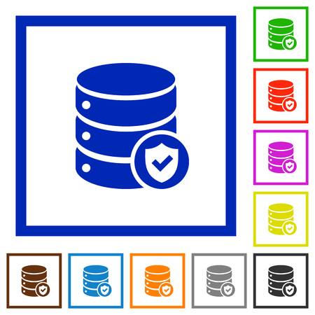 protected database: Set of color square framed Database protected flat icons Illustration