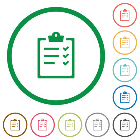 Set of task list color round outlined flat icons on white background