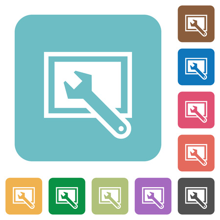 preset: Flat screen settings icons on rounded square color backgrounds. Illustration