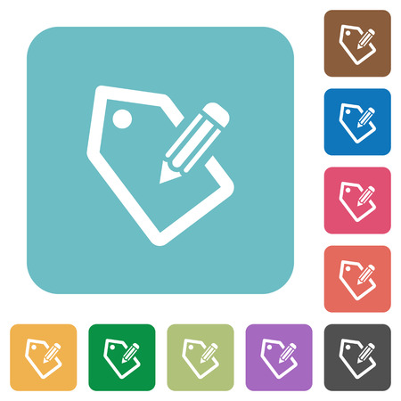 tagging: Flat tagging icons on rounded square color backgrounds. Illustration