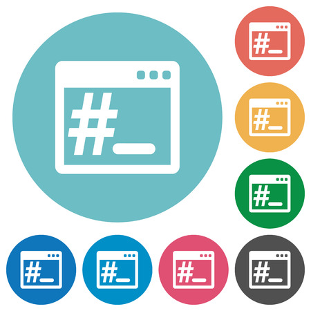 bash: Flat operating system root terminal icon set on round color background. Illustration