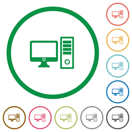 Conjunto de color de escritorio del ordenador redondo esbozó iconos planos sobre fondo blanco
