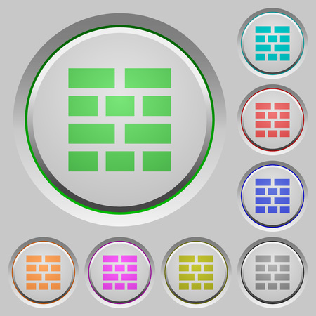 neighbor: Set of color brick wall sunk push buttons. Illustration