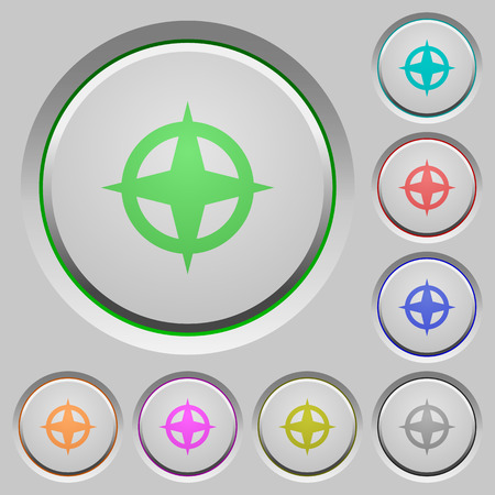 Set of color map directions sunk push buttons. Illustration