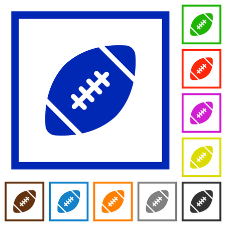 dexterity: Set of color square framed rugby ball flat icons Illustration