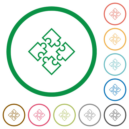 Set of puzzles color round outlined flat icons on white background Illustration