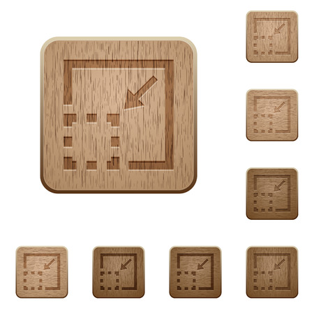 minimize: Set of carved wooden minimize element buttons in 8 variations. Illustration