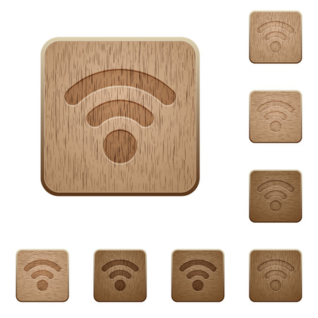 interference: Set of carved wooden radio signal buttons in 8 variations.