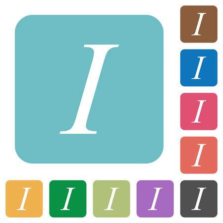 italic: Flat Italic font type icons on rounded square color backgrounds. Illustration
