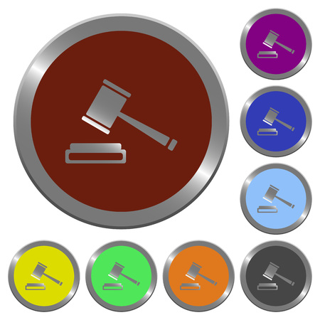 auction win: Set of color glossy coin-like auction hammer buttons Illustration