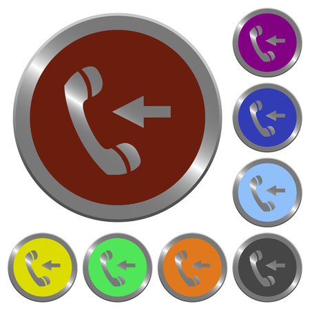 incoming: Set of color glossy coin-like incoming call buttons
