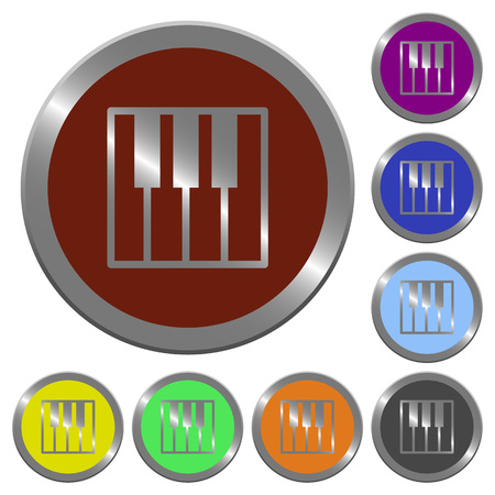 at tact: Set of color glossy coin-like piano keyboard buttons Illustration