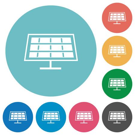 solarenergy: Flat solar panel icon set on round color background.