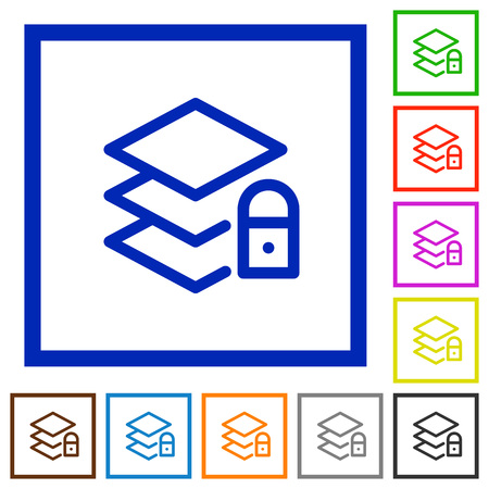 unaccessible: Set of color square framed locked layers flat icons Illustration
